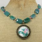 Handmade FLOWER PORTRAIT PENDANT GREEN AGATE JADE NECKLACE