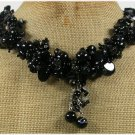Handmade NATURAL BLACK AGATE NECKLACE