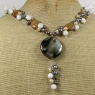 Handmade BRAZILIAN AGATE BROWN AGATE WHITE JADE PEARLS NECKLACE