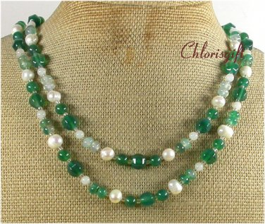 Handmade GREEN AGATE & FRESH WATER PEARLS 2ROW NECKLACE