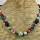 Handmade MULTI AFRICAN TURQUOISE CORAL VOLCANO LAVA NECKLACE