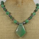 Handmade GREEN AGATE JADE FRESH WATER PEARLS NECKLACE
