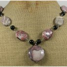 Handmade RED BROWN PICTURE JASPER BLACK CRYSTAL NECKLACE