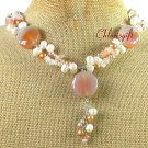 Handmade AGATE & FRESH WATER PEARL NECKLACE