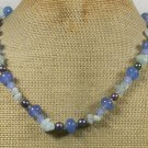 Handmade BLUE AGATE JADE QUARTZ FRESH WATER PEARLS NECKLACE
