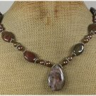 Handmade CRAZY AGATE IMPERIAL JASPER PEARLS NECKLACE