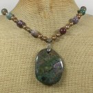 Handmade FANCY JASPER & FRESH WATER PEARLS NECKLACE