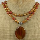Handmade ORANGE AGATE HONEY JADE FRESH WATER PEARL 2ROW NECKLACE