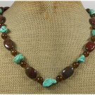 Handmade TURQUOISE IMPERIAL JASPER CAT EYE NECKLACE