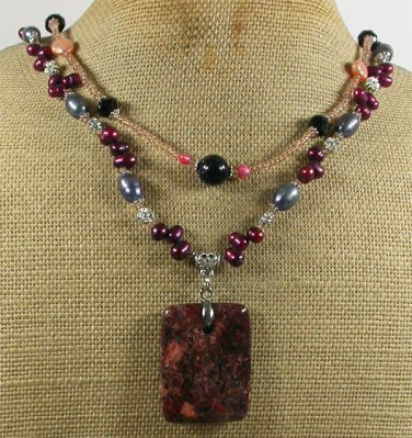 Handmade BACCIATED JASPER PEARLS CRYSTAL 2ROW NECKLACE