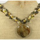 Handmade TIGER QUARTZ CRYSTAL FRESH WATER PEARLS NECKLACE