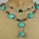 Handmade TURQUOISE SMOKY CRYSTAL FRESH WATER PEARLS 2ROW NECKLACE