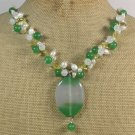 Handmade GREEN AGATE JADE QUARTZ CRYSTAL PEARLS NECKLACE