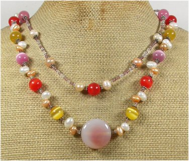 Handmade PINK AGATE CAT EYE FRESH WATER PEARLS 2ROW NECKLACE
