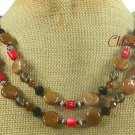 Handmade BROWN AGATE & RED CORAL & CRYSTAL NECKLACE