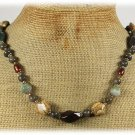 Handmade FANCY JASPER PICTURE JASPER LABORADITE PEARLS NECKLACE