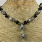 Handmade PICASSO JASPER & BLACK CRYSTAL NECKLACE