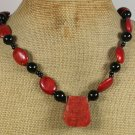 Handmade RED CORAL BLACK CRYSTAL NECKLACE