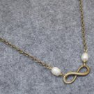 Handmade INFINITY CHARM & FRESH WATER WHITE PEARLS NECKLACE