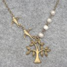 Handmade TREE PENDANT & SWALLOWS & FRESH WATER PEARLS NECKLACE