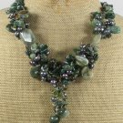 Handmade  FANCY JASPER & GREEN RUTILATED JASPER PEARLS NECKLACE