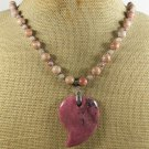 Handmade RHODONITE & ORANGE JASPER NECKLACE