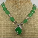 Handmade GREEN JADE & CLEAR CRYSTAL NECKLACE
