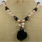 Handmade BLACK AGATE ROSE QUARTZ FRESH WATER PEARLS NECKLACE
