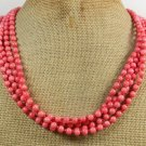 Handmade PINK CORAL 4ROW NECKLACE
