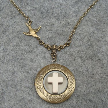 Handmade LOCKET & WHITE TURQUOISE CROSS & SWALLOW BIRD NECKLACE