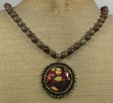 Handmade COPPER MONA LISA PORTRAIT & IMPERIAL JASPER NECKLACE