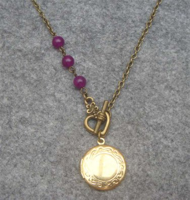 Handmade LOCKET & PURPLE JADE NECKLACE