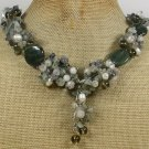 Handmade  GREEN RUTILATED JASPER QUARTZ JADE PEARLS NECKLACE
