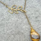 Handmade TIGER EYE DROP LEAF BRANCH LARIAT NECKLACE