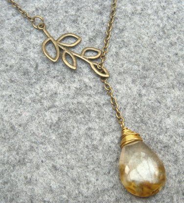 Handmade TIGER QUARTZ DROP LEAF BRANCH LARIAT NECKLACE