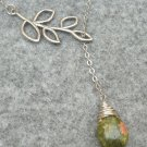 Handmade UNAKITE DROP SILVER LEAF BRANCH LARIAT NECKLACE