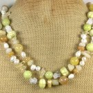 "Handmade  LONG! 40"" YELLOW JADE BUTTER JADE QUARTZ LAMPWORK PEARLS NECKLACE"