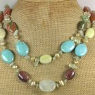 Handmade TURQUOISE UNAKITE TIGER EYE JADE QUARTZ 2ROW NECKLACE