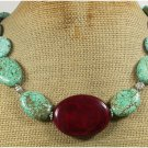 Handmade RED BLUE TURQUOISE NECKLACE