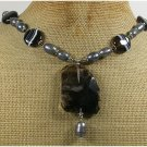 Handmade BLACK QUARTZ STRIPE AGATE FRESH WATER PEARLS NECKLACE