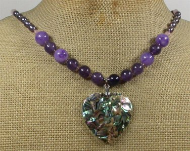 Handmade PAUA ABALONE & PURPLE JADE & ROSE QUARTZ PEARL NECKLACE