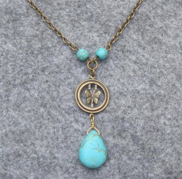 Handmade BUTTERFLY RING & TURQUOISE NECKLACE