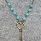 Handmade KEY & TURQUOISE NECKLACE