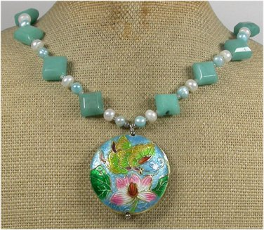 Handmade FLOWER CLOISONNE & AMAZONITE & PEARLS NECKLACE