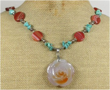 Handmade AGATE ROSE & TURQUOISE & FW PEARL NECKLACE