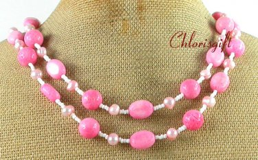 Handmade PINK CORAL & FRESH WATER PEARL 2ROW NECKLACE