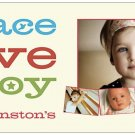 PEACE - LOVE -JOY | 10ct - 4&quot;x8&quot; flat glossy photo greeting cards w matching envelopes