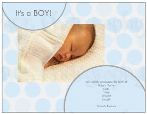 CANDY DOTS | 20ct - 5.5&quot;x4&quot; flat glossy photo BABY BOY ANNOUNCEMENTS w matching envelopes