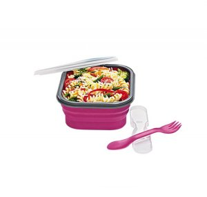 Magenta: Collapsible Travel Lunch Container with Utensil - Avon