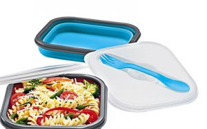 Blue: Collapsible Travel Lunch Container with Utensil - Avon